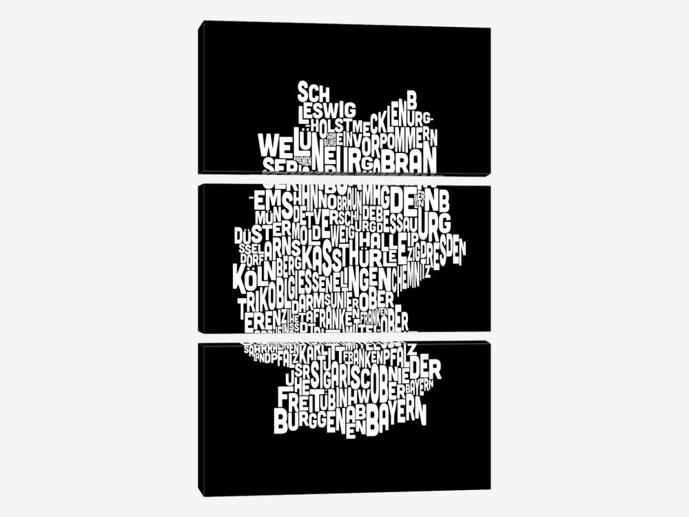 Text Map of Germany by Michael Tompsett 3-piece Art Print