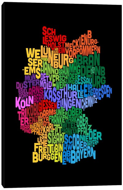 Text Map of Germany II Canvas Art Print