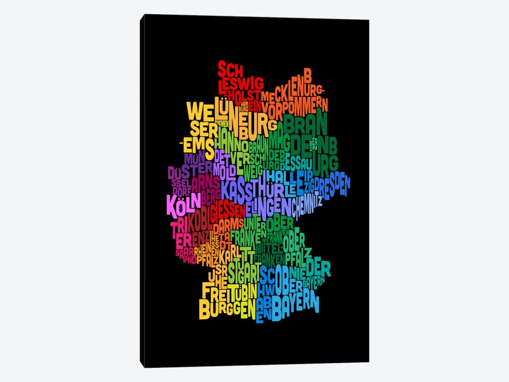 Text Map of Germany II by Michael Tompsett 1-piece Canvas Artwork