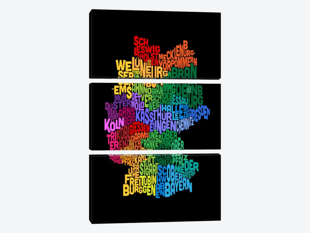 Text Map of Germany II by Michael Tompsett 3-piece Canvas Artwork