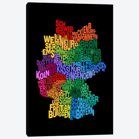 Text Map of Germany II 3-Piece Canvas #8918} by Michael Tompsett Canvas Artwork