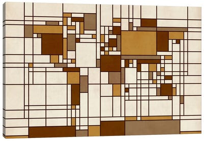 World Map Abstract Mondrian Style Canvas Print #8919