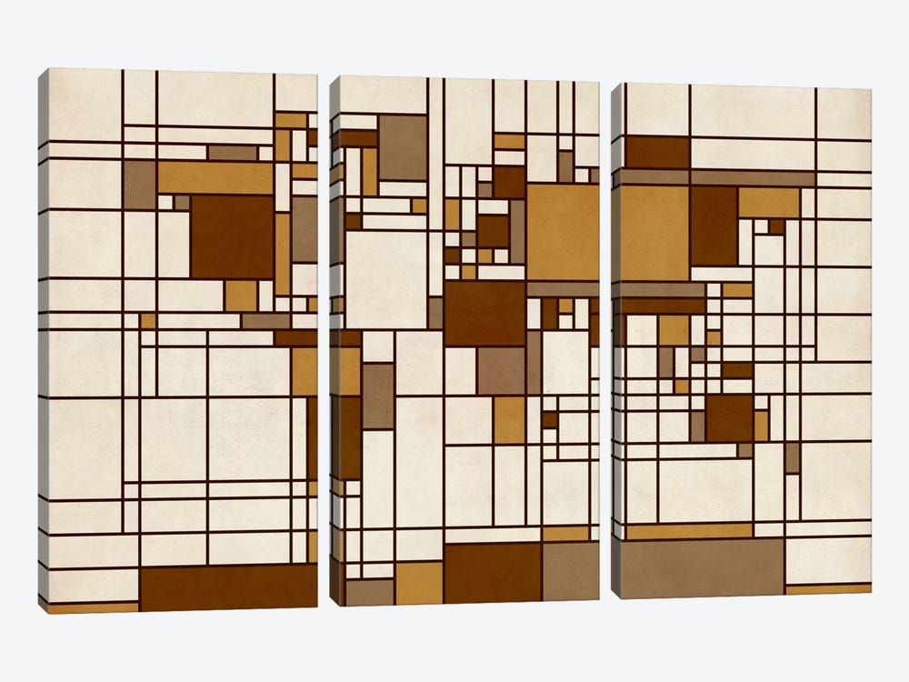 World Map Abstract Mondrian Style by Michael Tompsett 3-piece Canvas Art Print