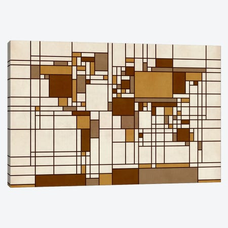 World Map Abstract Mondrian Style Canvas Print #8919} by Michael Tompsett Canvas Wall Art