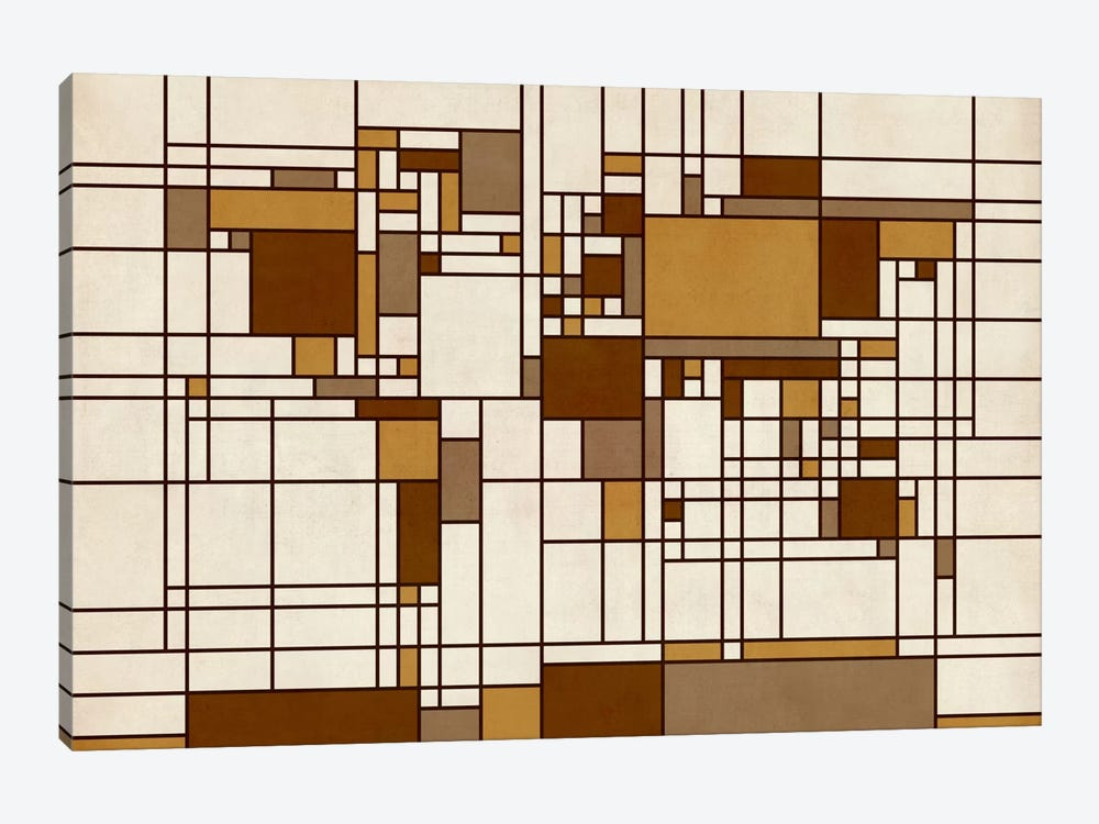 World Map Abstract Mondrian Style by Michael Tompsett 1-piece Art Print