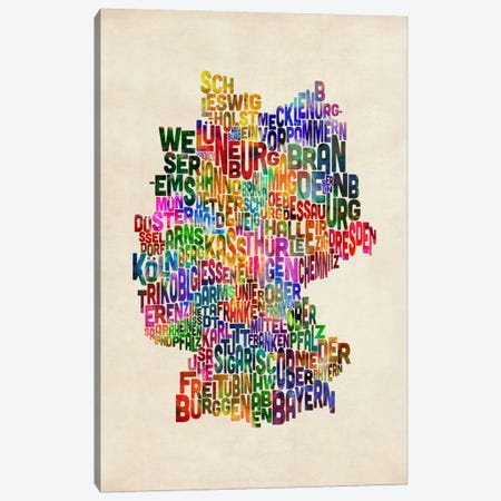 Text Map of Germany III Canvas Print #8920} by Michael Tompsett Art Print