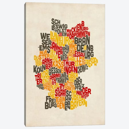 Text Map of Germany IV Canvas Print #8921} by Michael Tompsett Canvas Print
