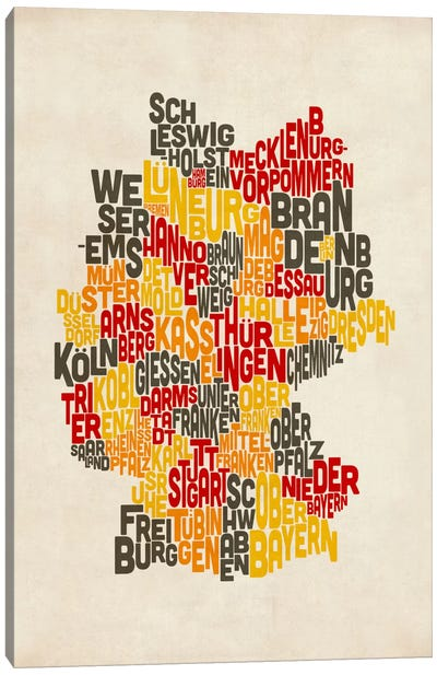 Text Map of Germany IV Canvas Art Print