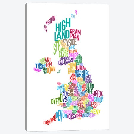 Great Britain County Text Map III Canvas Print #8924} by Michael Tompsett Canvas Artwork