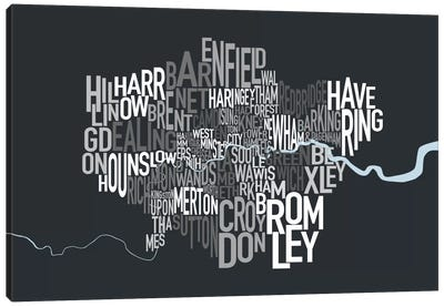 London Text Map Canvas Art Print
