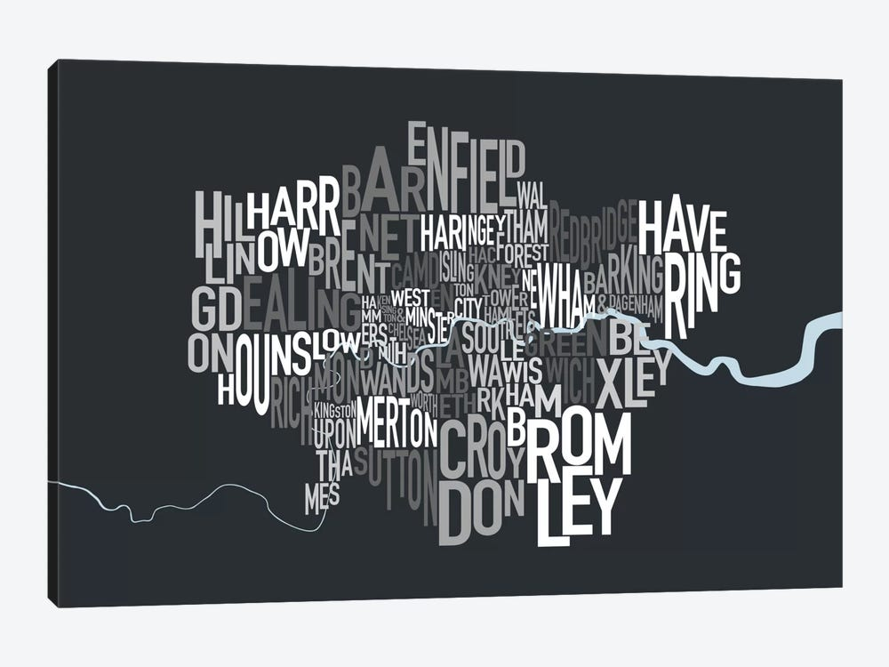 London Text Map by Michael Tompsett 1-piece Canvas Art