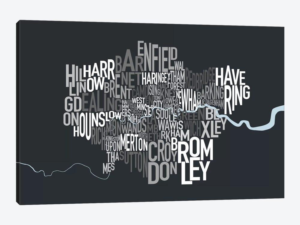 London Text Map by Michael Tompsett 1-piece Canvas Art