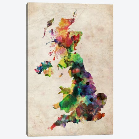 United Kingdom Watercolor Map Canvas Print #8929} by Michael Tompsett Art Print