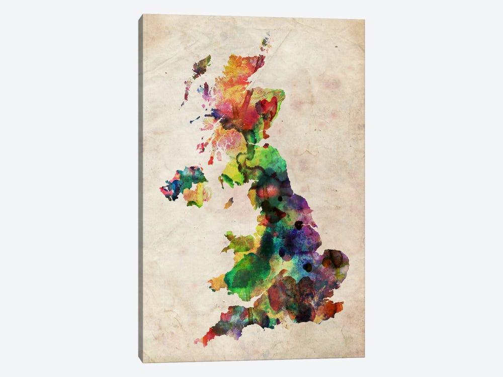 United Kingdom Watercolor Map by Michael Tompsett 1-piece Canvas Artwork