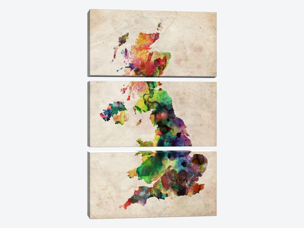 United Kingdom Watercolor Map by Michael Tompsett 3-piece Canvas Wall Art