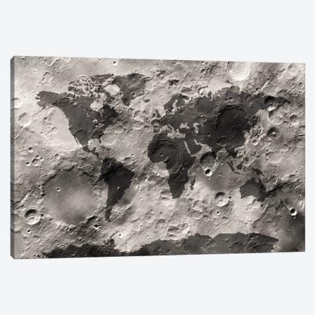 World Map on The Moon's Surface Canvas Print #8930} by Michael Tompsett Canvas Wall Art