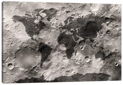 World Map on The Moon's Surface Canvas Art Print
