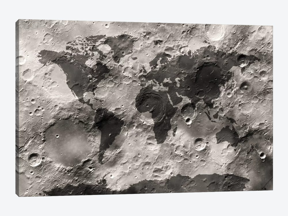 World Map on The Moon's Surface by Michael Tompsett 1-piece Canvas Wall Art