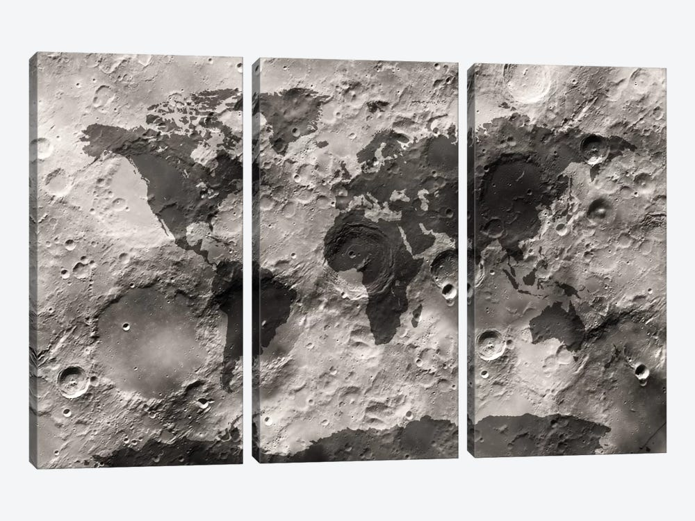 World Map on The Moon's Surface by Michael Tompsett 3-piece Canvas Wall Art
