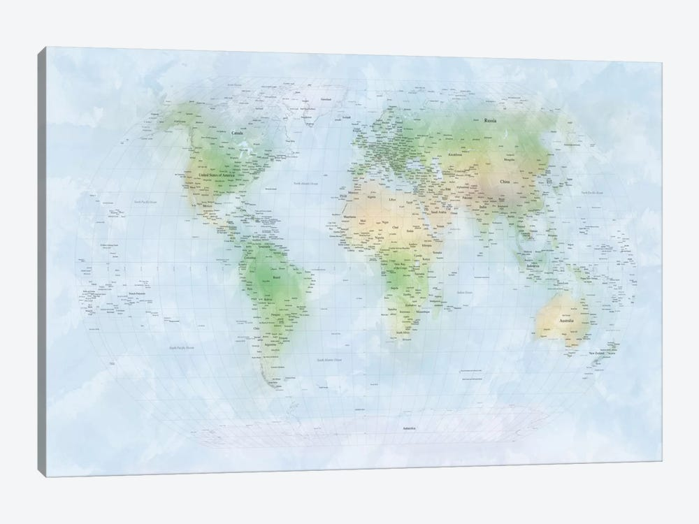World Map III by Michael Tompsett 1-piece Canvas Print