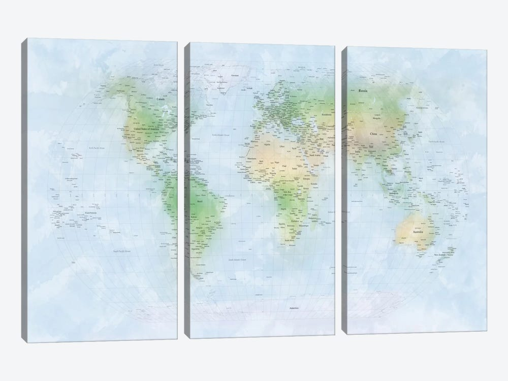World Map III 3-piece Canvas Print