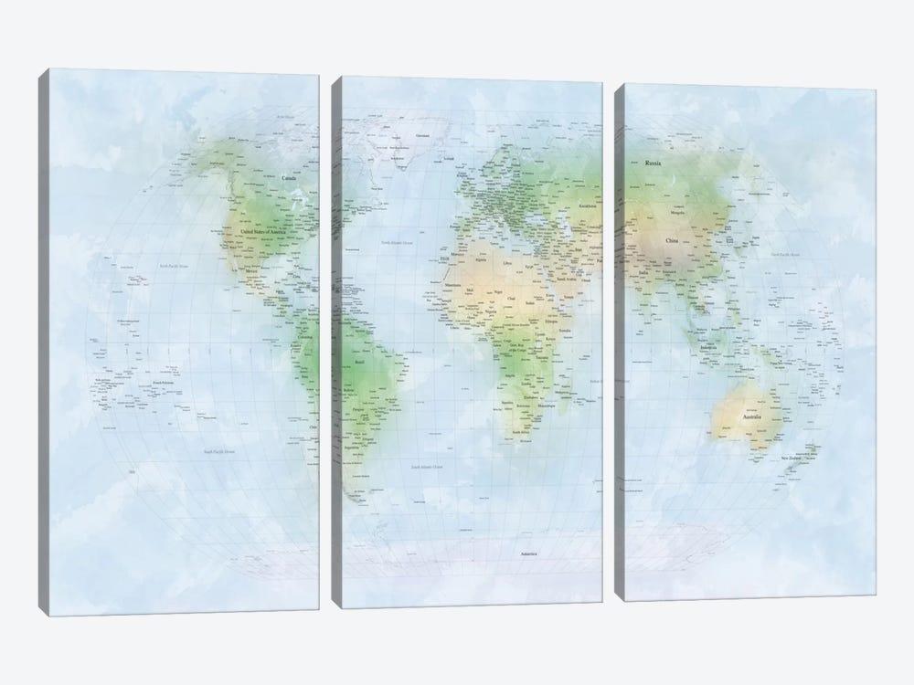 World Map III by Michael Tompsett 3-piece Canvas Print