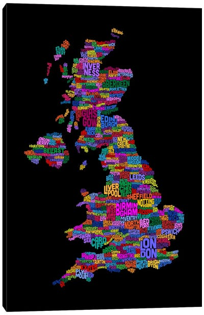 Great Britain UK City Text Map (Black) Canvas Art Print