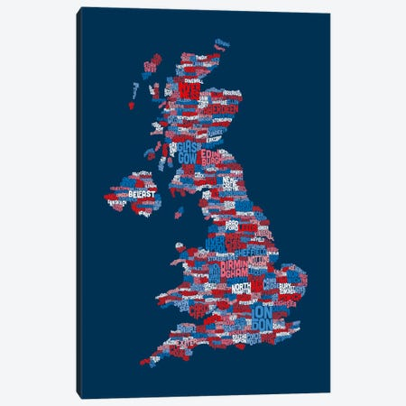 Great Britain UK City Text Map (Blue) Canvas Print #8933} by Michael Tompsett Canvas Wall Art