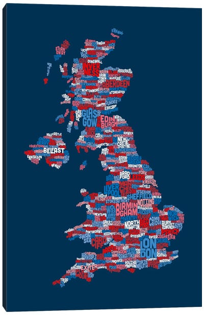 Great Britain UK City Text Map (Blue) Canvas Print #8933