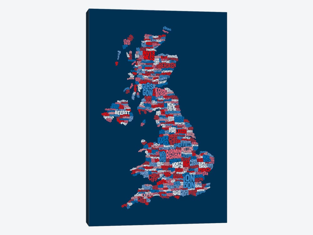 Great Britain UK City Text Map (Blue) by Michael Tompsett 1-piece Canvas Art Print