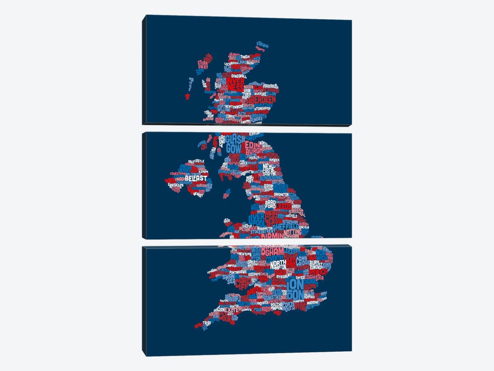 Great Britain UK City Text Map (Blue) 3-piece Art Print