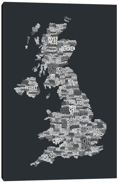 Great Britain UK City Text Map (Gray) Canvas Print #8934