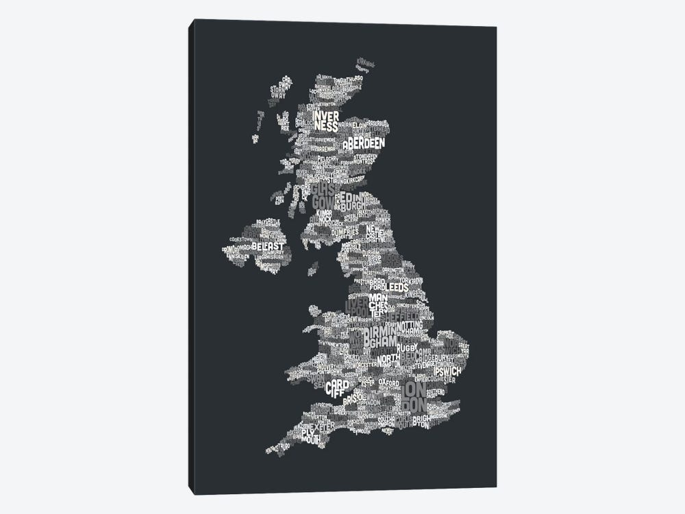 Great Britain UK City Text Map (Gray) by Michael Tompsett 1-piece Canvas Wall Art