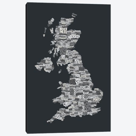 Great Britain UK City Text Map (Gray) 3-Piece Canvas #8934} by Michael Tompsett Art Print