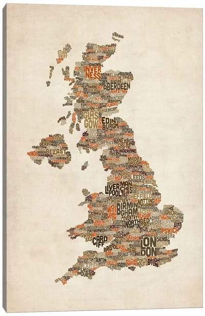 Great Britain UK City Text Map II Canvas Print #8936