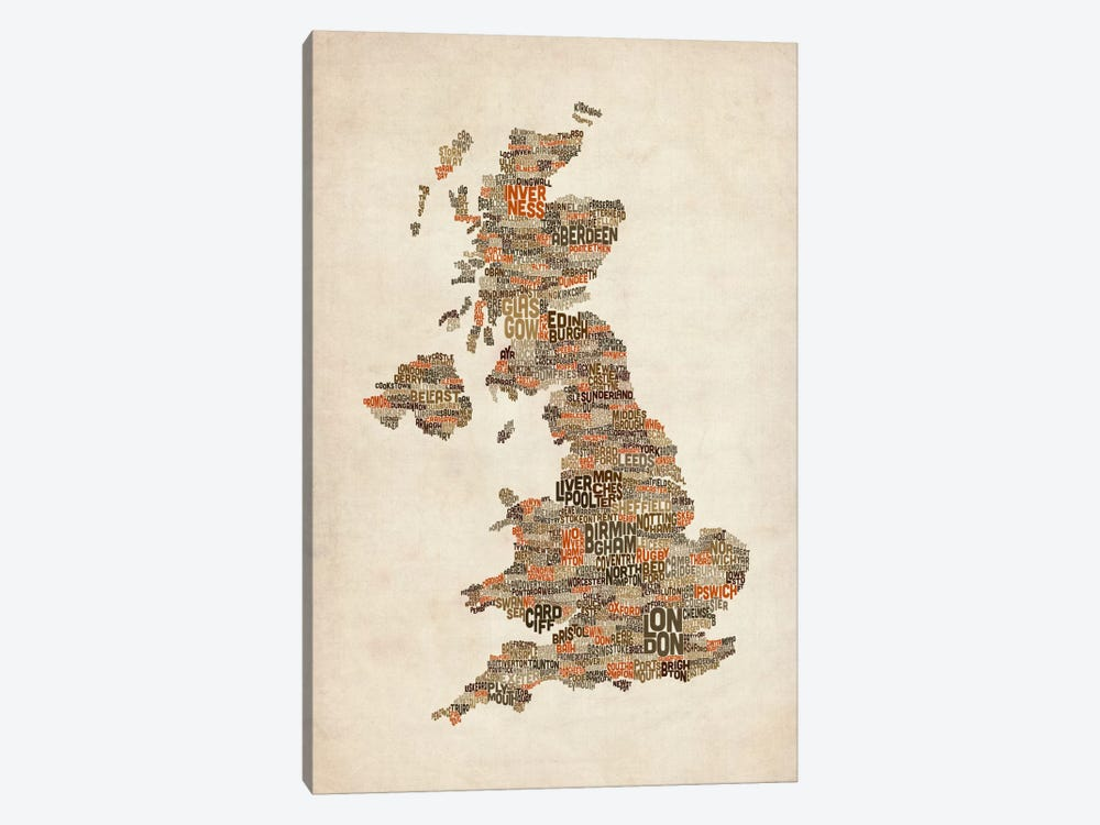 Great Britain UK City Text Map II by Michael Tompsett 1-piece Canvas Artwork