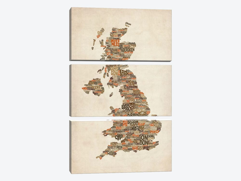 Great Britain UK City Text Map II by Michael Tompsett 3-piece Canvas Artwork