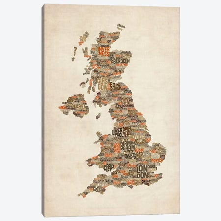 Great Britain UK City Text Map II 3-Piece Canvas #8936} by Michael Tompsett Canvas Print