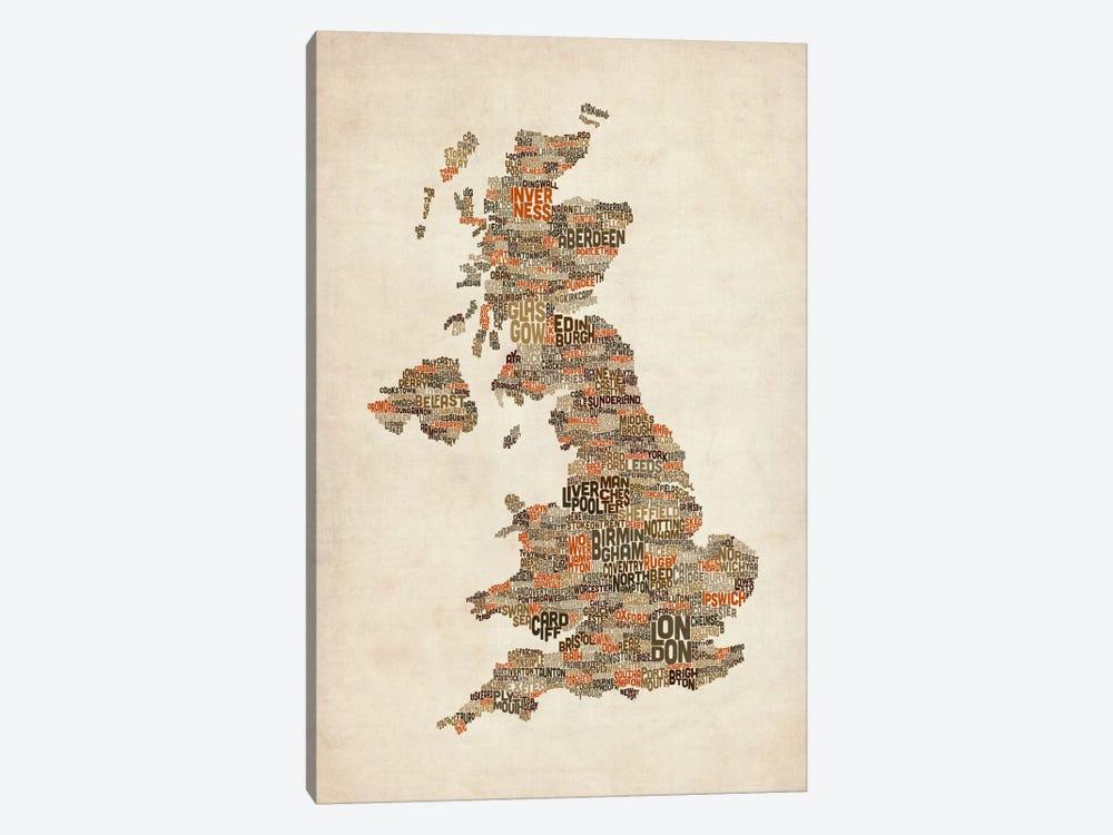 Great Britain UK City Text Map II by Michael Tompsett 1-piece Canvas Artwork