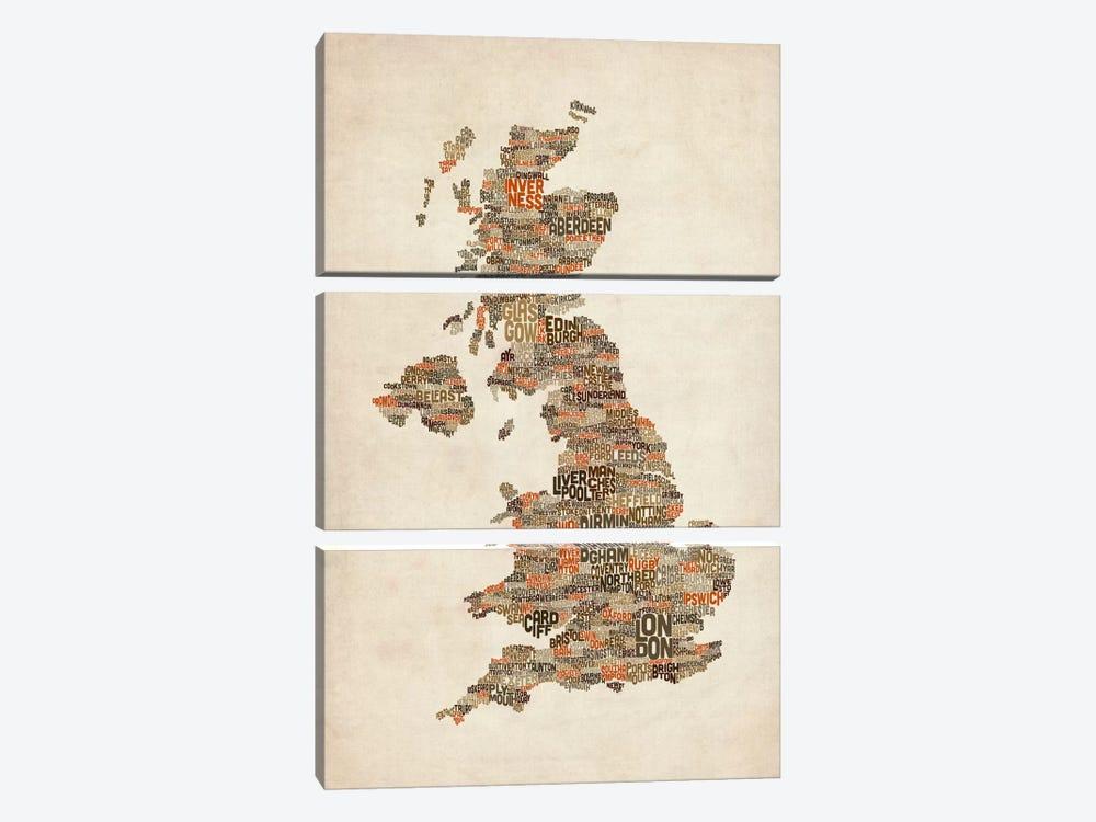 Great Britain UK City Text Map II by Michael Tompsett 3-piece Canvas Artwork