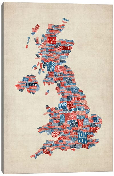 Great Britain UK City Text Map III Canvas Art Print