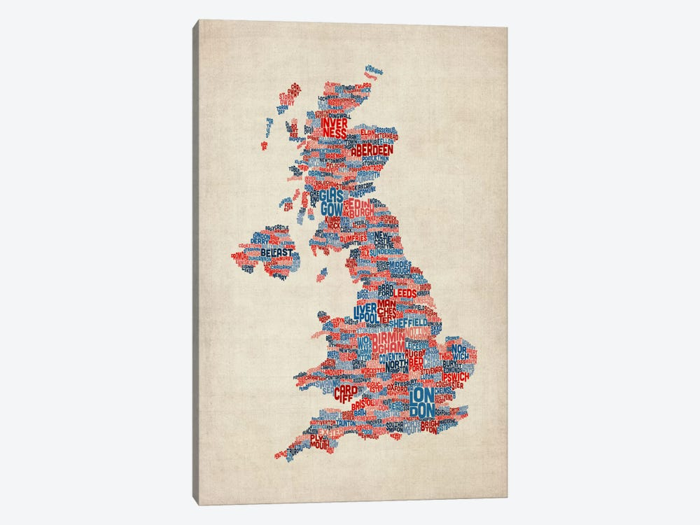 Great Britain UK City Text Map III by Michael Tompsett 1-piece Canvas Art Print