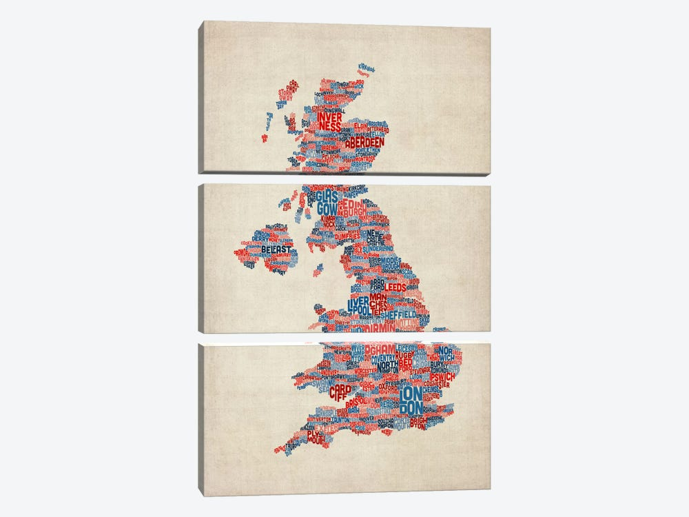Great Britain UK City Text Map III by Michael Tompsett 3-piece Canvas Print