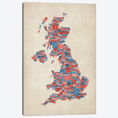 Great Britain UK City Text Map III 3-Piece Canvas #8937} by Michael Tompsett Canvas Print