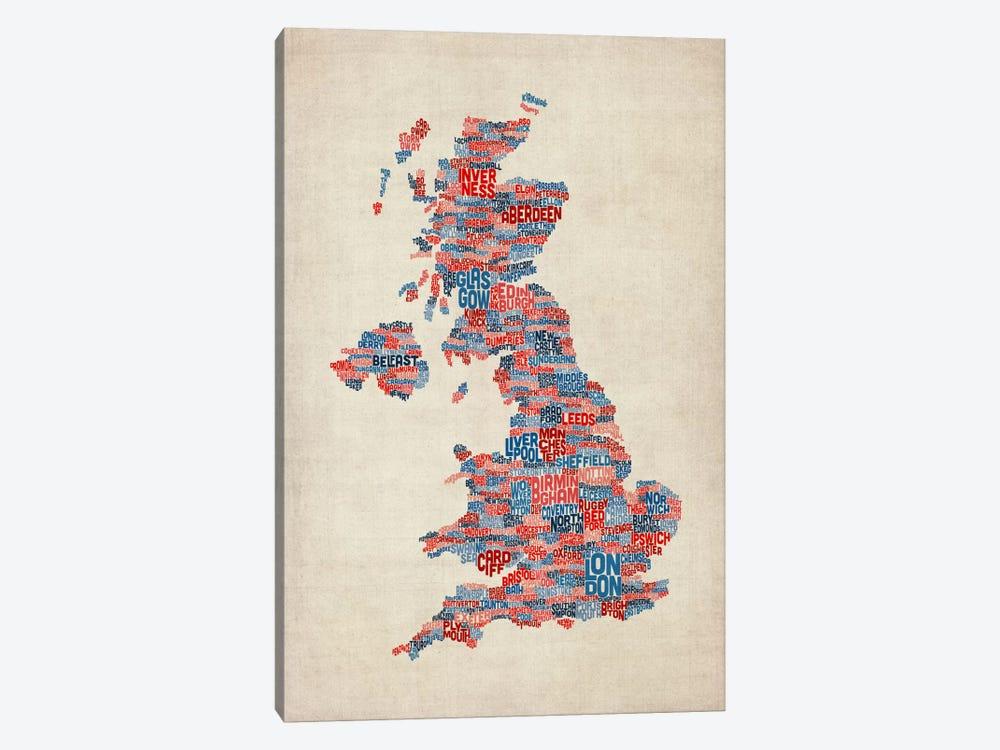 Great Britain UK City Text Map III by Michael Tompsett 1-piece Canvas Art Print