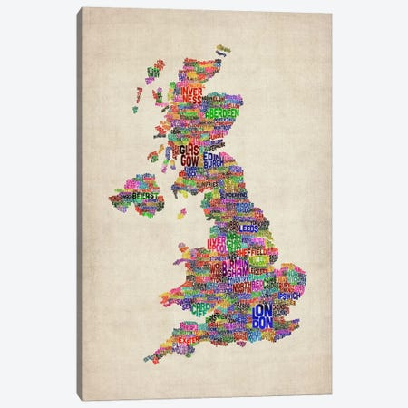 Great Britain UK City Text Map IV Canvas Print #8938} by Michael Tompsett Canvas Wall Art