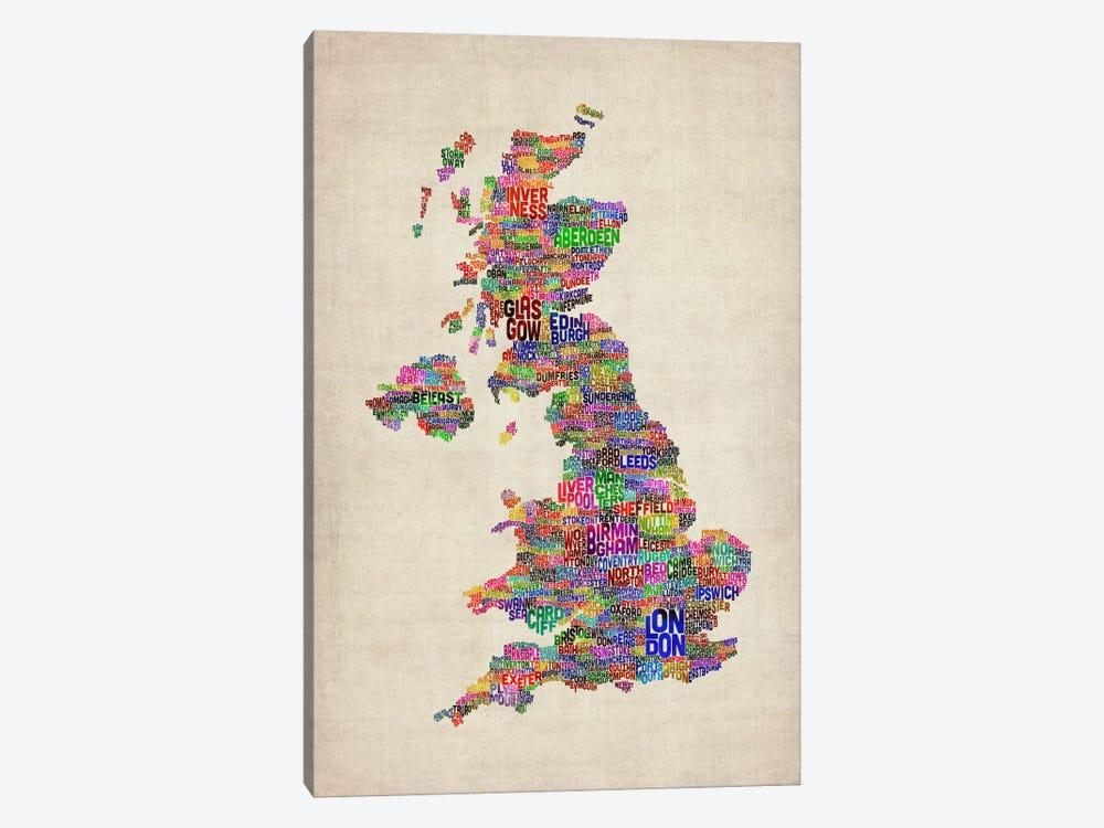 Great Britain UK City Text Map IV by Michael Tompsett 1-piece Canvas Artwork