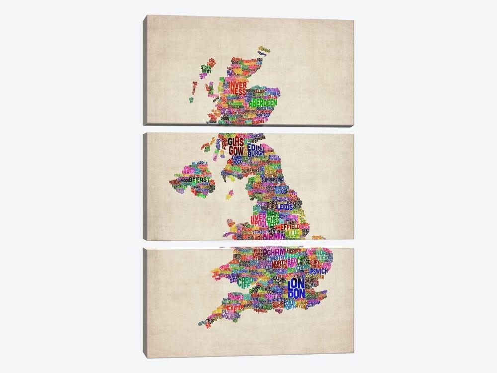 Great Britain UK City Text Map IV by Michael Tompsett 3-piece Canvas Art