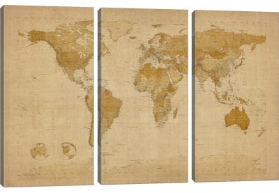 Antique World Map II Canvas Art Print