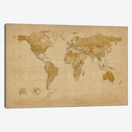 Antique World Map II Canvas Print #8939} by Michael Tompsett Canvas Artwork